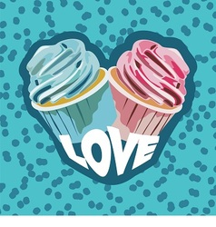Two colorful cupcakes vector
