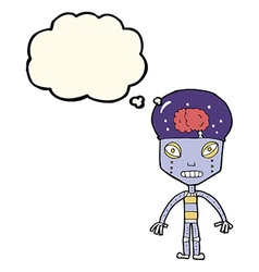 Cartoon weird robot with thought bubble vector