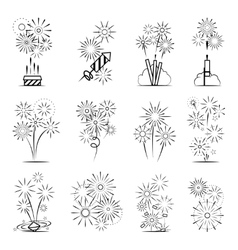 Firework celebration icon set vector