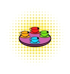 Coffee-cup carousel icon comics style vector