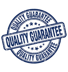 Quality guarantee blue grunge round vintage rubber vector