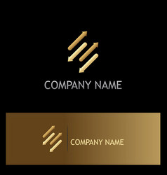 Arrows dynamic gold logo vector