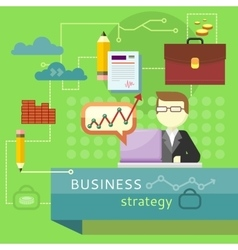 Business strategy performance analysis banner vector
