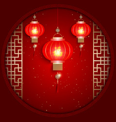 Chinese New Year Greeting Card on Red Background vector image