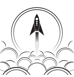 contour of an upcoming rocket with smoke vector image vector image