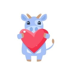 Cow holding pink heart vector
