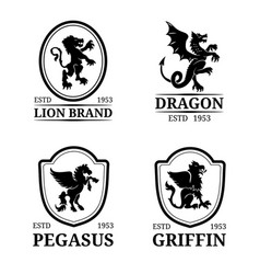 crest monogram templates luxury pegasus vector image vector image