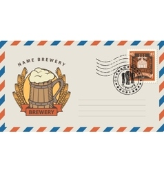 envelope with glass of beer vector image