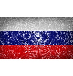 Flags russia with broken glass texture vector