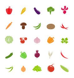 flat colorful vegetable silhouettes vector image