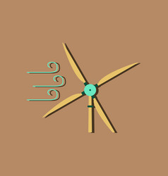 Flat icon design wind turbine in sticker style vector