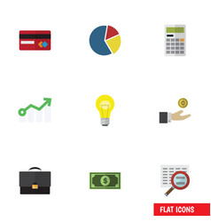 Flat icon finance set of calculate scan growth vector