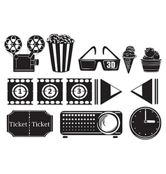 Foods and things for a movie marathon vector