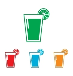 Glass of juice icons Colorfull set vector image
