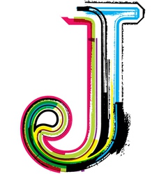 Grunge colorful font Letter J vector image vector image