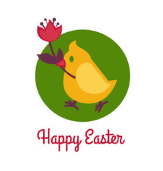 happy easter logo template with chicken symbolic vector image vector image