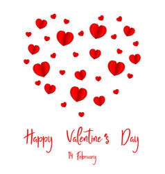 happy valentines day 14 february paper heart vector image