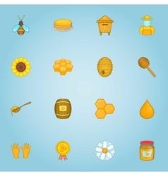 Honey icons set cartoon style vector