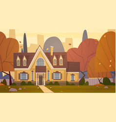 House building suburb of big city in autumn vector