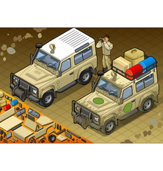 Isometric safari jeep in front view vector