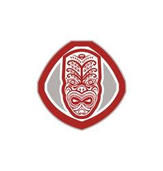 Maori mask face front shield retro vector