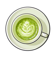 matcha green tea latte cappuccino drink top view vector image vector image