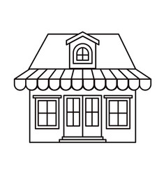 Monochrome silhouette of store with awning and vector