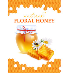 natural floral honey realistic poster vector image