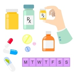Pills and drug medicaments in flat style vector