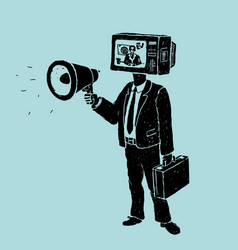 propaganda by tv and loudspeaker vector image