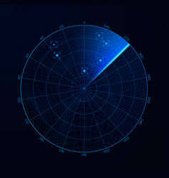 radar in searching military search system blip vector image
