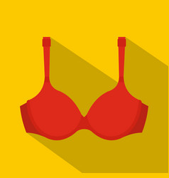 Red bra icon flat style vector