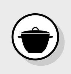 Saucepan simple sign flat black icon in vector