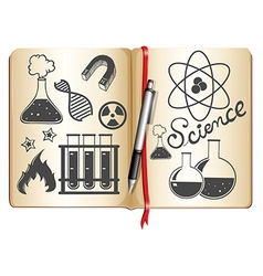 Science and technology symbols on book vector