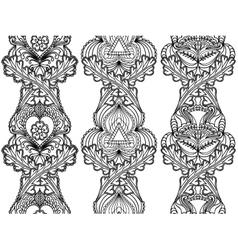Set boho ethnic seamless vertical patterns tribal vector
