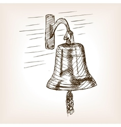 Ship bell sketch style vector image vector image