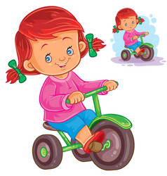 Small girl riding a tricycle vector