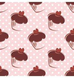 Tile chocolate cupcake and polka dots pattern vector image vector image