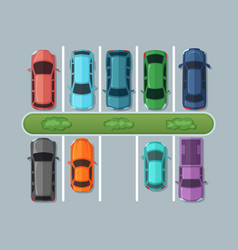 Top view parking cars on asphalt in urban map vector