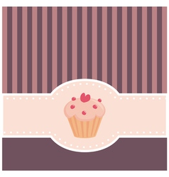 Retro muffin cupcake invitation vector