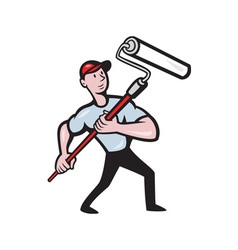 House painter paint roller painting cartoon vector