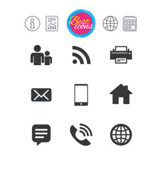 contact mail icons communication signs vector image