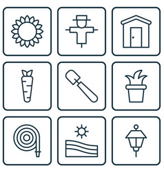 set of 9 planting icons includes bush pot shovel vector image
