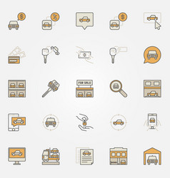 Buying a vehicle colorful icons vector