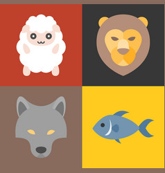 Animals in bible icons set vector