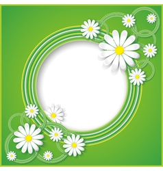 Abstract green background with flower chamomile vector image