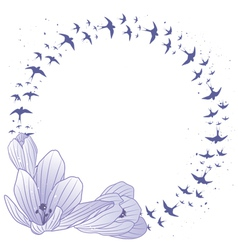 Crocus and swallow frame vector