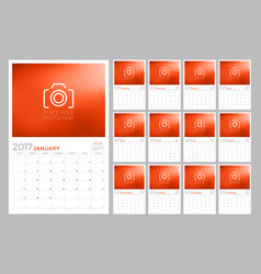 2017 wall calendar planner design template set vector