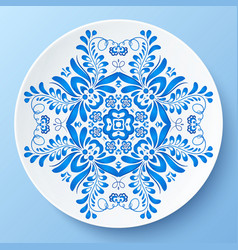 Blue plate with floral ornament vector image