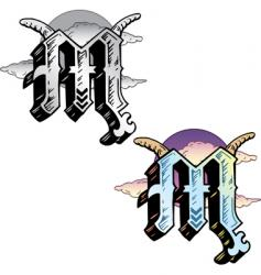 tattoo letter M vector image